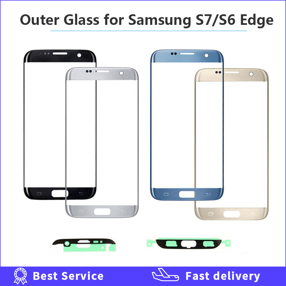 Front Outer Glass Lens Cover Replacement For Samsung Galaxy S6 S7 Edge G925 G935 G935F G935FD LCD Glass S7 S6 Edge With Adhesive