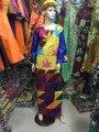 (Envío Gratis) Nueva moda mujeres ropa tradicional Africana, algodón bordado de manga larga vestido vestido