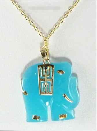 ร้อนขายรูปแบบใหม่>>>>>สีฟ้าหยกเหลืองทองช้างจี้และสร้อยคอ