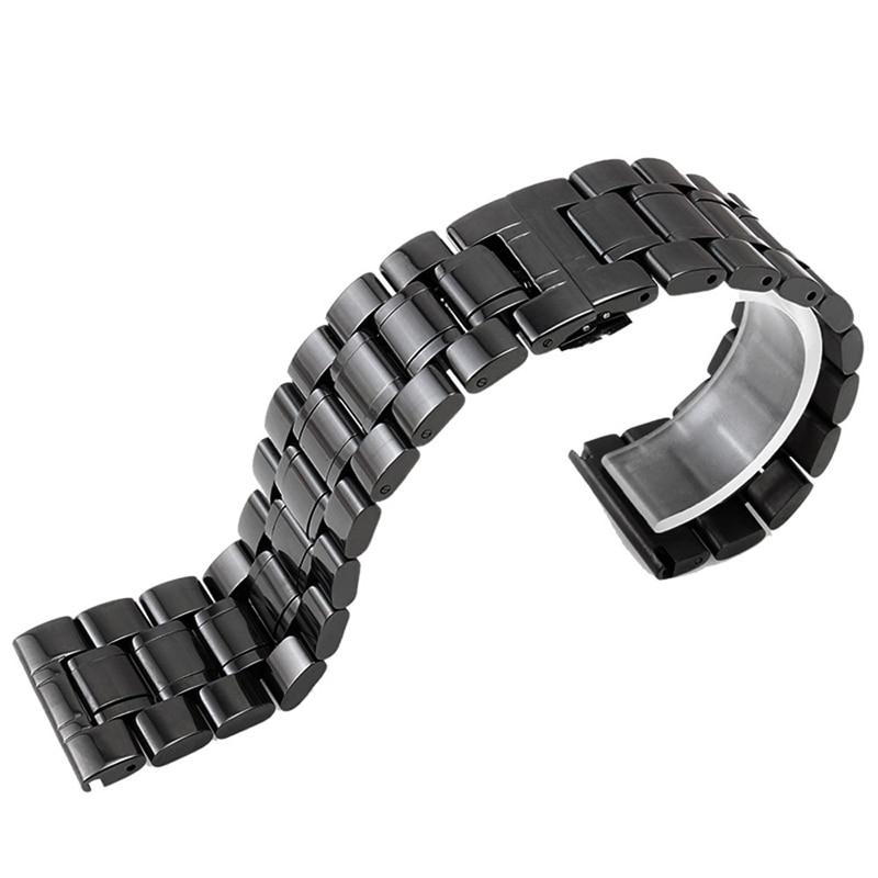 Correas de reloj de 24 mm Correa de reloj de acero inoxidable negro - Accesorios para relojes - foto 4