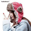 Kakaforsa Winter Christmas Reindeer Wool Cotton Hats Women Warm Ear Protection Caps Fashion Knitted Foldable Hat with Cute Ears