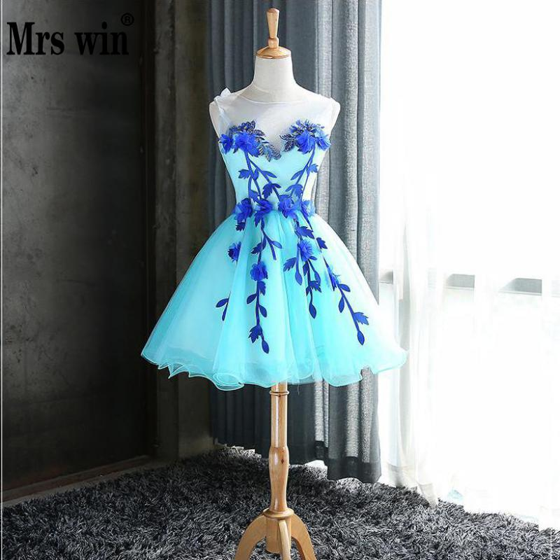 Mrs Win Prom Dresses 2019 Short Blue Prom Dress O neck Ball Gown Candy Color Dress