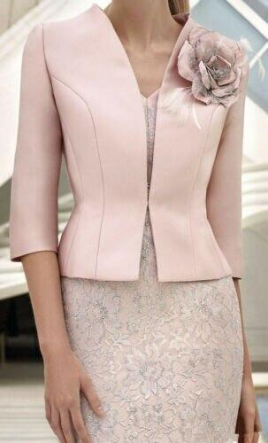 Rose mère de mariée robe 2019 invité robe dentelle élégante 3/4 manches veste 2 pièce grande taille pour la fête de mariage vestidos de fiesta