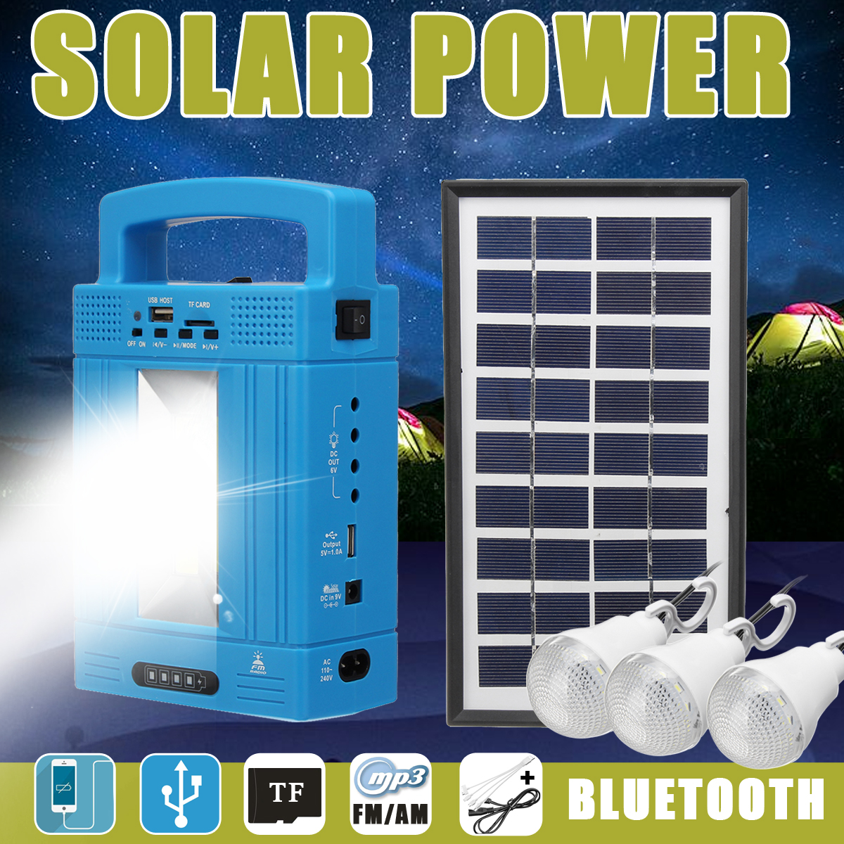 Portable Solar Powered Panel Lighting System Generator Storage Ourdoor Indoor Home Emergency USB Charging/Lamp Bulb/Radio/FM/MP3 portable dc solar panel charging generator power supply board charger radio mp3 flashlight mobile led lighting system outdoor