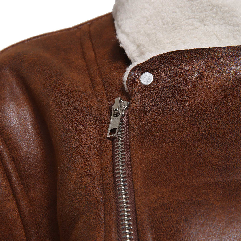 HTB1vYydX1L2gK0jSZPhq6yhvXXaG Zipper Closure for Men Leather Jacket Autumn Winter Warm Fur Lining Lapel Leather outerwear layer дубленка мужская кожаная Coat