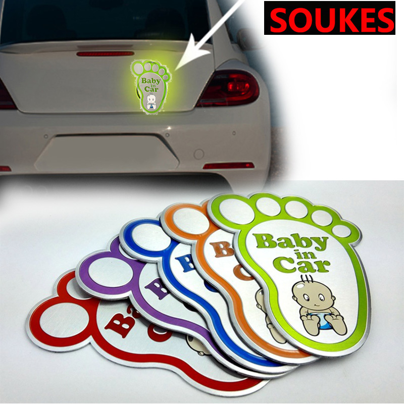 3D Aluminum Baby In Car Reflective Warning Sticker For Renault Megane Logan Mitsubishi Lancer <font><b>VW</b></font> Tiguan Golf 4 7 6 <font><b>T5</b></font> T4 Jetta image