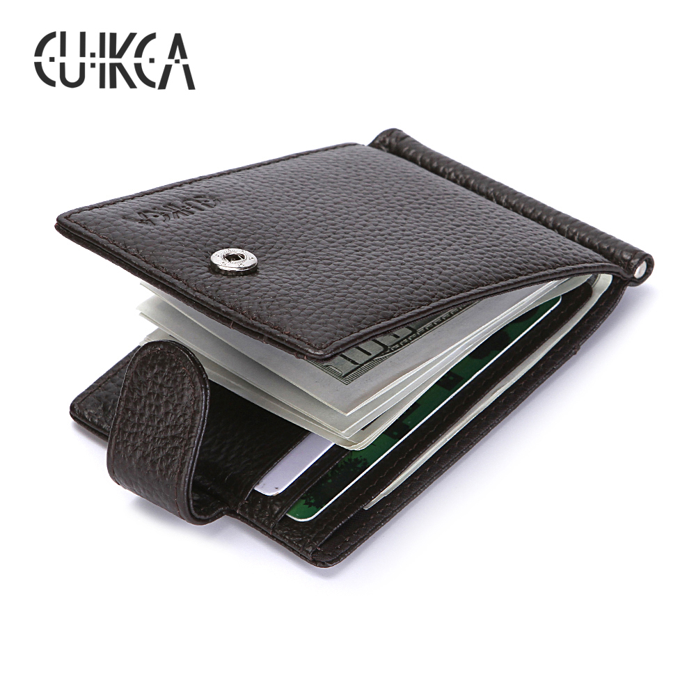 CUIKCA RFID Wallet Genuine Leather Men Wallet Carteira Cowhide Money Clip HASP Short Slim Wallet Business ID Credit Card Cases men business real cowhide leather three style money bag wallet