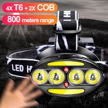 T6 + COB LED Headlamp Headlight Sensor 40000lm 18650 Rechargeable Torch Flashlight Fishing Head Lamp USB Waterproof Led Lantern