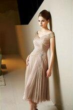 Mutter der Braut Kleid 2016 Tee Länge Mutter Kleider Chiffon Kurzarm Falten Abendkleid Vestido Madre Novia Prom