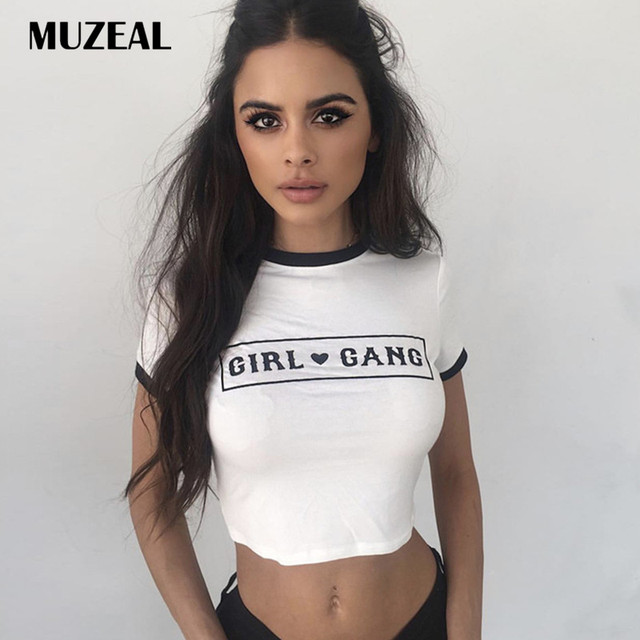 8da0de2c202d MUZEAL Summer Cotton White Lady Crop Top Shirts Black Hems O Neck Sexy Girl  Cropped T Shirts Lady Short Sleeve Cropped Tees 202