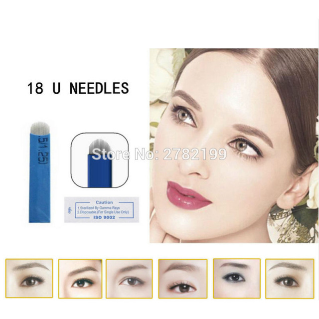 100 Pcs Tattoo Needles 18 Pins U Shape Microblading Lamina U Sobrancelha Tebori 18 Pontas U Blades Eyebrow Permanent Manual Pen