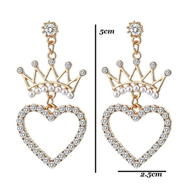 Crystal Pearl Crown Earrings for Women Geometric Heart Star Pearl Earring Girls Wedding Party Statement Earings.jpg 640x640 - Crystal Pearl Crown Geometric Earrings for Women