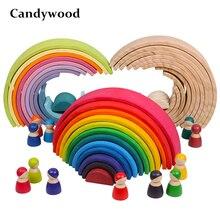 Детские игрушки большой Радужный штабелер деревянные игрушки для детей креативные радужные строительные блоки Монтессори Развивающие игрушки для детей