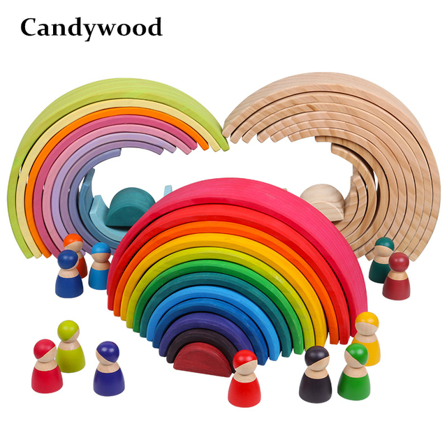 Baby Large Rainbow Stacker Wooden Toys For Kids Creative Rainbow Building Blocks Montessori Educational Toy Children