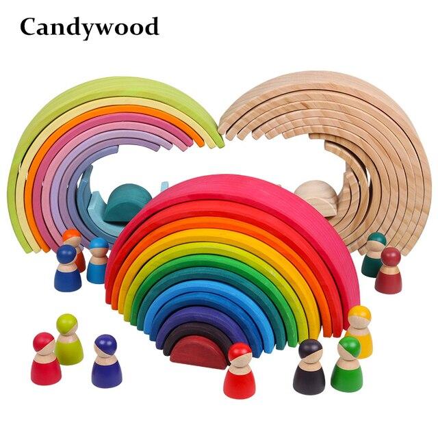 Brinquedos do bebê Grandes Blocos de Construção de Brinquedos De Madeira Para Crianças Criativas Rainbow Rainbow Stacker Montessori Brinquedo Educacional Das Crianças