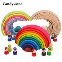 Juguetes para bebés, apilador de arcoíris grande, juguetes de madera para niños, bloques de construcción creativos de arcoíris juguete educativo Montessori niños
