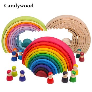 Zabawki dla niemowląt duże Rainbow Stacker drewniane zabawki dla dzieci kreatywne Rainbow klocki Montessori edukacyjne zabawki dla dzieci tanie i dobre opinie Candywood Unisex 2-4 lat Certyfikat TM-768 BLOCKS don t eat Drewna Building blocks
