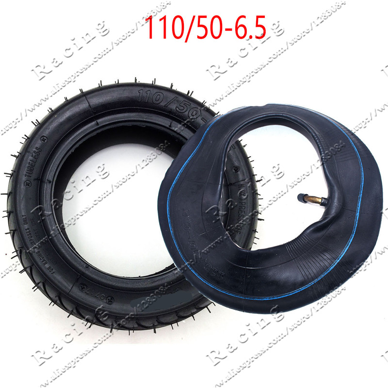 <font><b>90</b></font> / 65-6.5 and <font><b>110</b></font>/50-6.5 Front and Rear Tire& Inner Tube Bent Valve fits 49cc Mini Dirt Bike e Scooter Mini Moto image