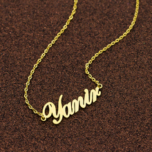 где купить Customized Fashion Stainless Steel Gold Choker Custom Name Necklace Personalized Jewelry Handmade Nameplate Pendant Women Gift дешево
