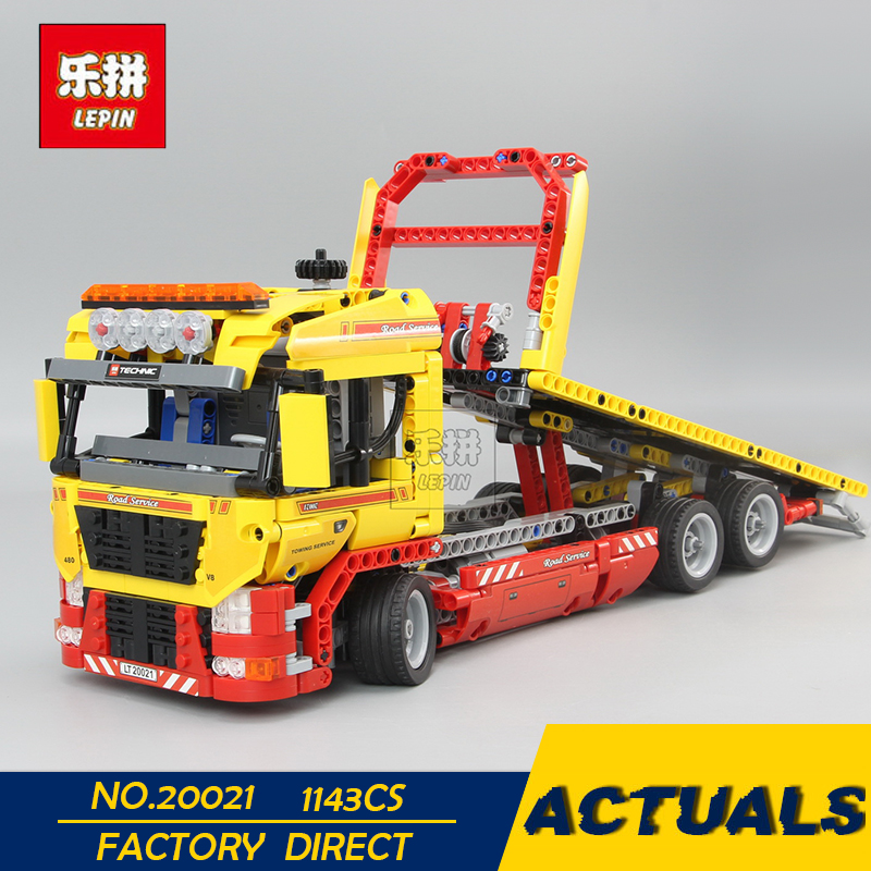 LEPIN 20021 Technic Series 1143PCS Flatbed trailer Model Building blocks Bricks Compatible Toy Gift Educational Car 8109 new lepin 21003 series city car beetle model educational building blocks compatible 10252 blue technic children toy gift