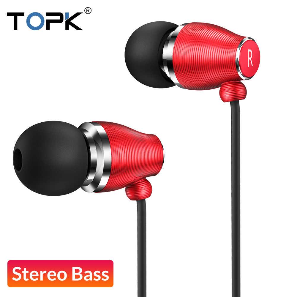 TOPK F07 стерео гарнитура с басами 3,5 мм разъем для наушников Спортивная Проводная гарнитура с микрофоном для iPhone samsung Компьютерная гарнитура