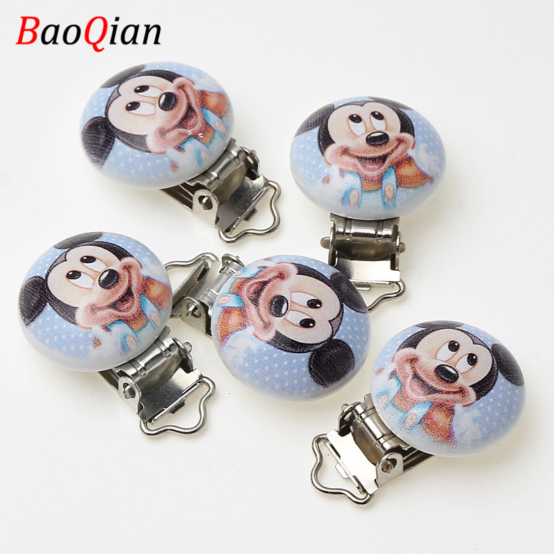 5Pcs Metal Wooden Lovely Mouse Baby Pacifier Clips Holders Cute Infant Soother Clasps Accessories Diy