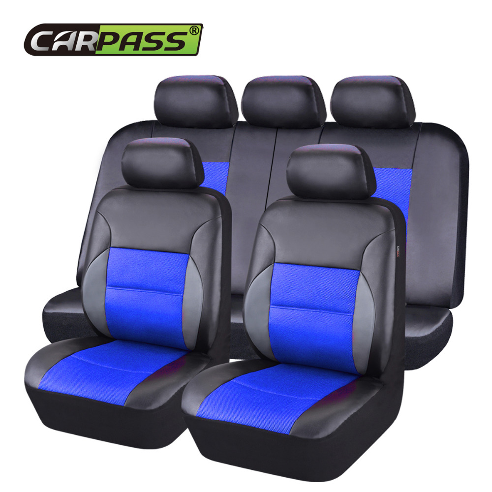 Car pass Luxury Leather Car Seat Covers Universal Cayenne Black Car Seat Covers Cushion Interior Accessories