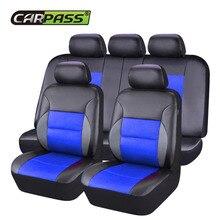 Car-pass Fundas de Asiento de Coche de Cuero de Lujo Universal Cayenne Negro Cubiertas Del Asiento de Coche Cojín Accesorios Interiores Para Volkswagen
