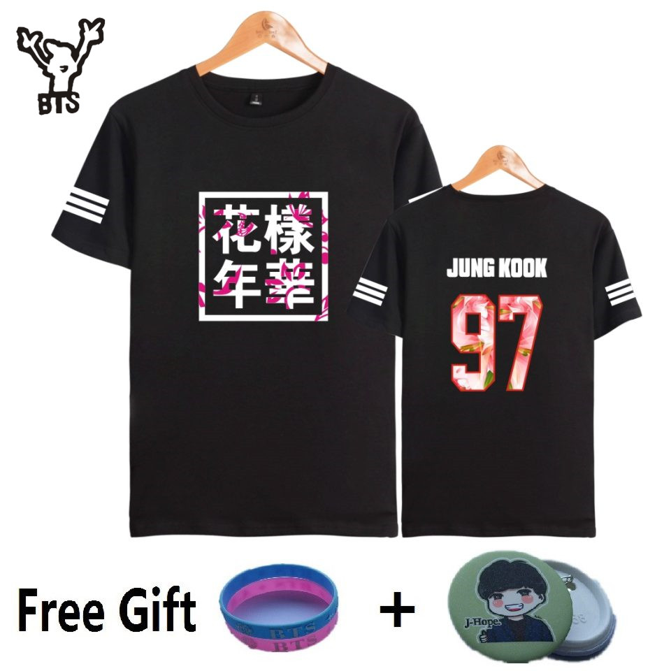 BTS Kpop Lengan Pendek T Shirt Korea Bangtan Boys Fashion T-shirt Wanita / lelaki k-pop Kapas Casual Hip Hop Funny 4XL plus size