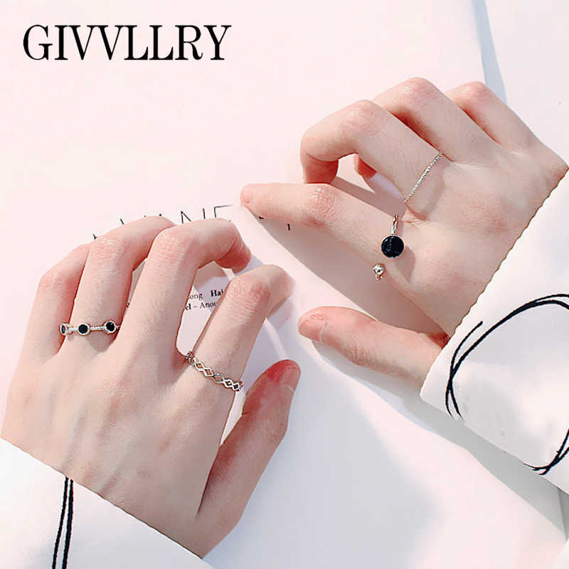 GIVVLLRY Minimalist Geometric Silver Rings Fashion Knuckle Jewelry Vintage Chic Punk Black Resin Stone Open Rings Set for Women