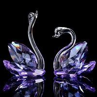 100mm Crystal Glass Swan Figurines Paperweight Art & collection for Home Wedding Decor Birthday Gifts
