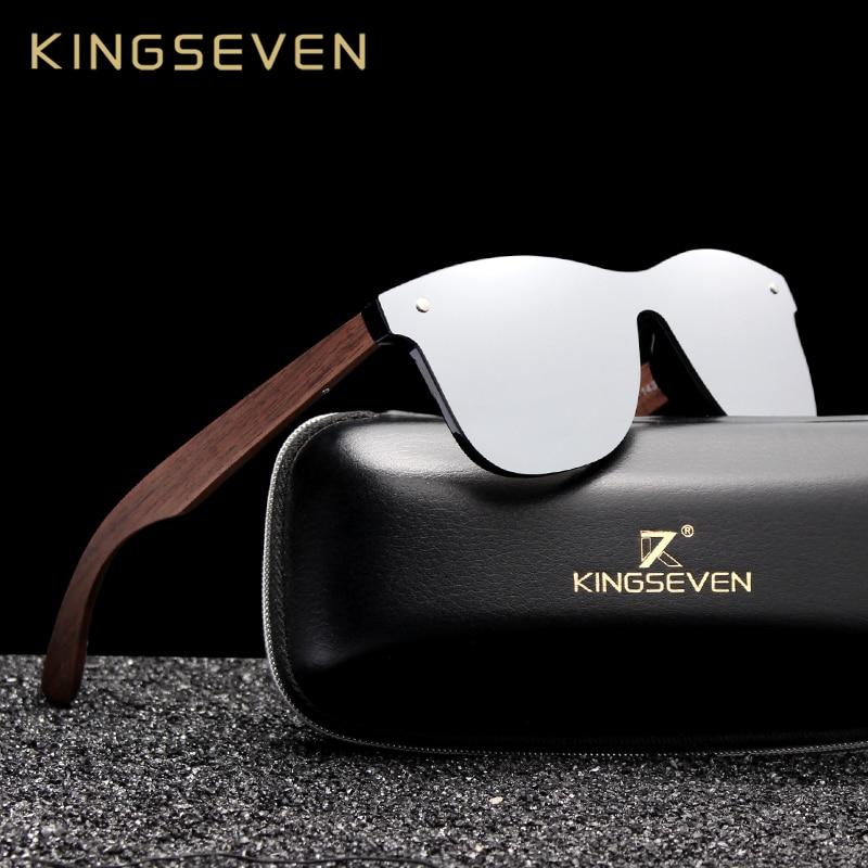 KINGSEVEN 2019 Luxury Walnut Wood Sunglasses Polarized Wooden Brand Designer Rimless Mirrored Square Sun Glasses For Women/Men(China)