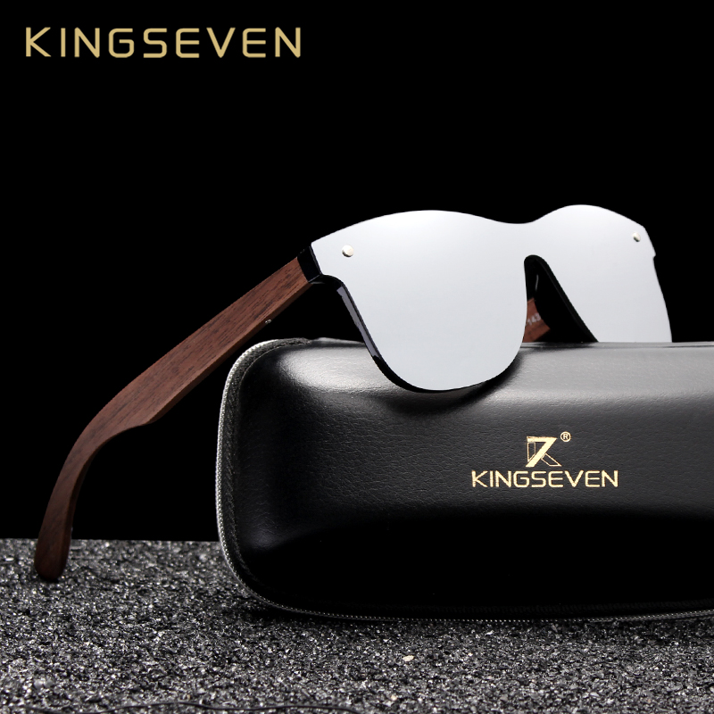 KINGSEVEN 2019 Luxury Walnut Wood Sunglasses Polarized Wooden Brand Designer Rimless Mirrored Square Sun Glasses For Women/Men|Men's Sunglasses| - AliExpress