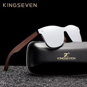 Image 1 - Kingseven 2019 럭셔리 호두 나무 선글라스 편광 된 나무 브랜드 디자이너 무테 미러 된 사각형 태양 안경 여성/남성