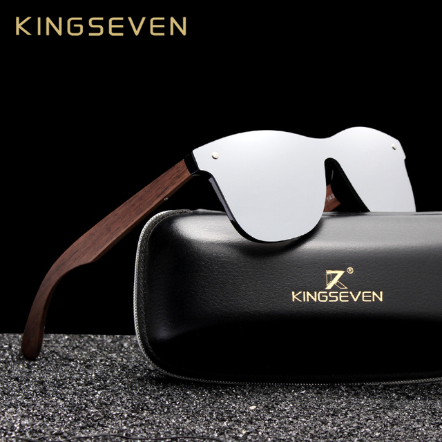Kingseven 2019 럭셔리 호두 나무 선글라스 편광 된 나무 브랜드 디자이너 무테 미러 된 사각형 태양 안경 여성/남성