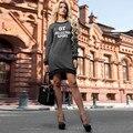 2017 Женщины Моды Элегантный Dress Плюс Размер Vintage A-Line dress письмо печати Dress Длинными рукавами Вскользь офис dress XL О-Образным Вырезом