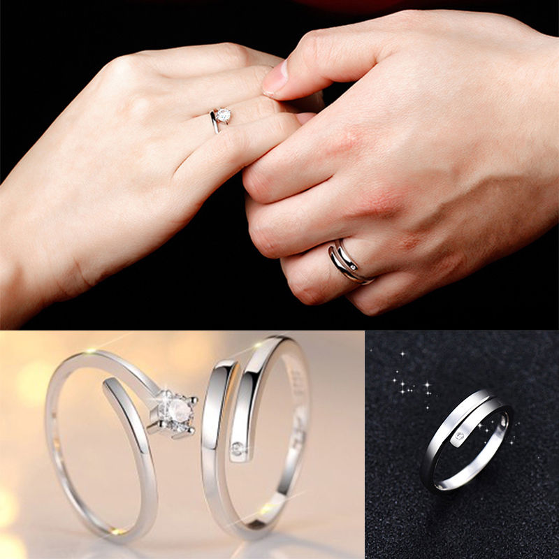 d95433e076ef8 US $1.23 6% OFF|Fashion Lover Silver Crystal Couple Rings Men and Women  Promise Rings Romantic Gift Lovers-in Engagement Rings from Jewelry & ...
