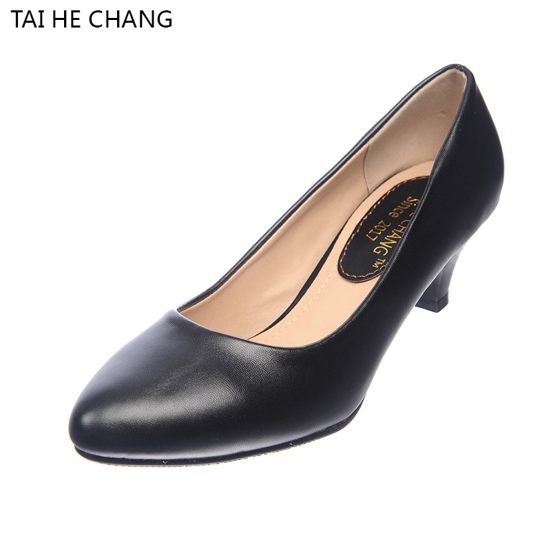 2017 women spring and autumn shoes thick high heels fashion women PU leather shoes woman platform pumps 298-1