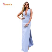 Straight Long Evening Dresses 2019 V Neck Tank Formal Gowns Side Slit Sexy Evening Party Dress abito cerimonia donna D446 цена