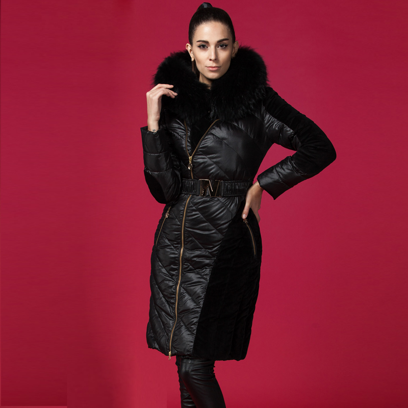 Womens Genuine Leather Duck Down Coat Winter warm Fur Hooded Long Mink Parka New
