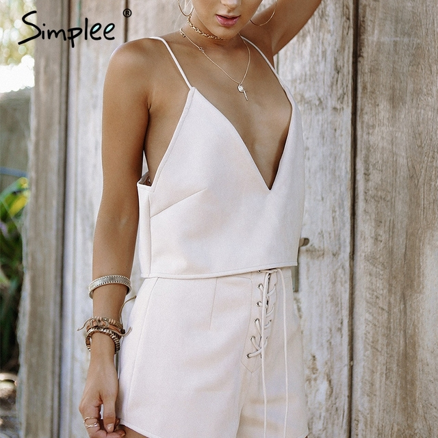 Simplee Bow tie suede camisole tank top Sexy deep v neck strap cami backless crop top Casual 2017 summer party women tops