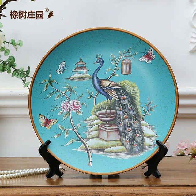 Artes artesan a cer mica p jaros del pavo real de pared decorativos platos de porcelana platos - Platos decorativos pared ...