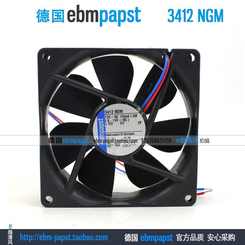 ebm papst 3412NGM 3412 NGM DC 12V 0.135A 1.6W 92x92x25mm Server Square Fanebm papst 3412NGM 3412 NGM DC 12V 0.135A 1.6W 92x92x25mm Server Square Fan