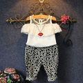 2 шт. малыш детской одежды лето милый мода кружева цветочный возглавляет + проверка брюки наряды краткое новую одежду 2 3 4 5 6Y