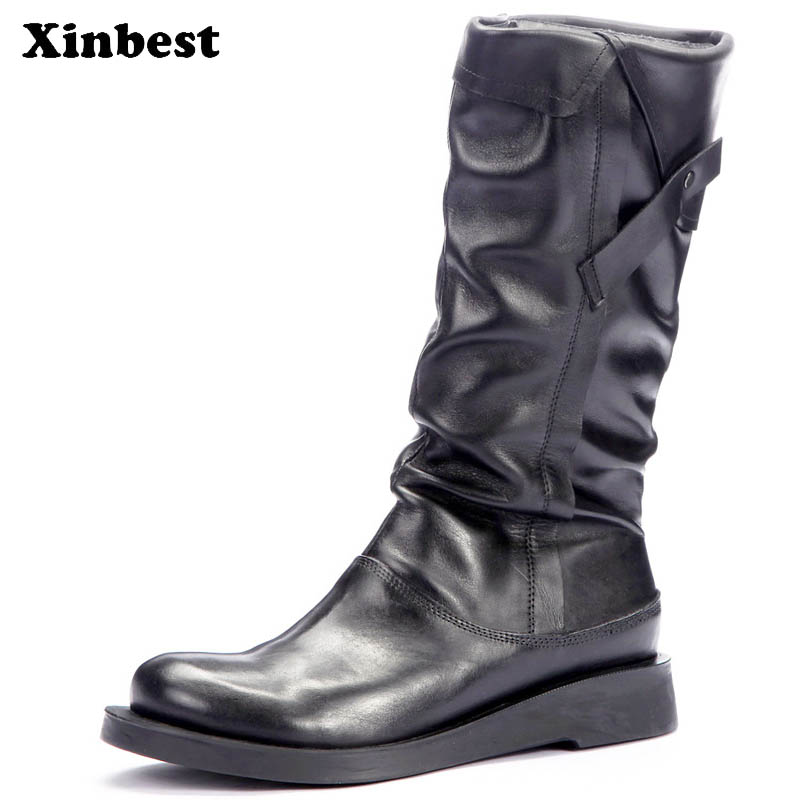Xinbest Woman Boots Genuine Leather Womens Winter Boots Casual Fashion Women High Heel Shoes Round Toe Mid-Calf Martin Boots zorssar 2018 new fashion women boots genuine leather zipper round toe mid heels womens mid calf boots autumn winter women shoes