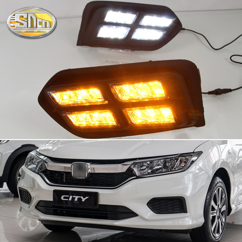 SNCN LED Daytime Running Light For Honda City Grace 2017 2018 Yellow Turn Signal Relay Waterproof 12V DRL Fog Lamp Decoration sncn 24w 14w led multifunctional led fog lamp for honda city 2014 2015 2016 with drl daytime running lights