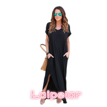 Women Dresses Fashion Summer Boho Beach Dresses Split Short Sleeve Casual Dress Elegant Maxi Dress Vestido Laipelar цена