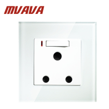 MVAVA Free Shipping 15A South Africa style Switched Socket ,Crystal Glass Wall power plug and Switch with LED indicator light