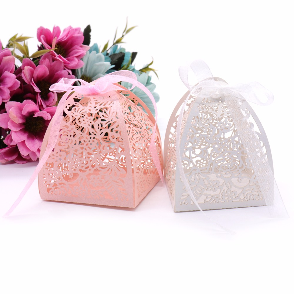 50pcs Wedding Paper Hollow Candy Box With Ribbons Flowers Design ...