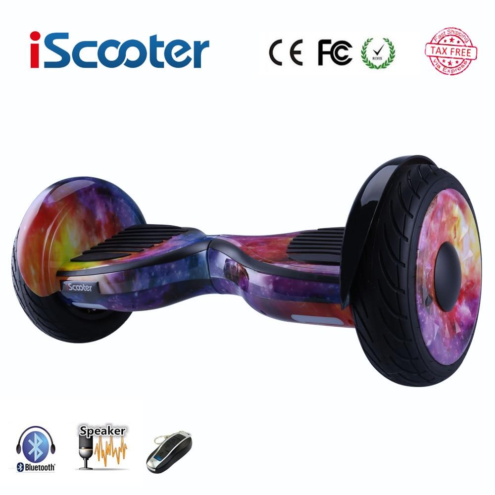Livraison gratuite Hoverboard 10 pouce deux roues smart auto équilibrage scooter électrique planche à roulettes avec Bluetooth haut-parleurs giroskuter